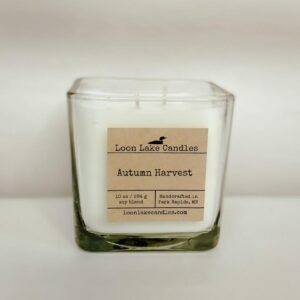 Autumn Harvest Square Glass Candle
